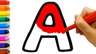 Aprenda o alfabeto a a z colorir e desenhar aprenda cores para crianças