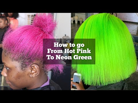 How to go from Hot Pink to Neon Green | How to remove pink hair dye| Lime green hair tutorial