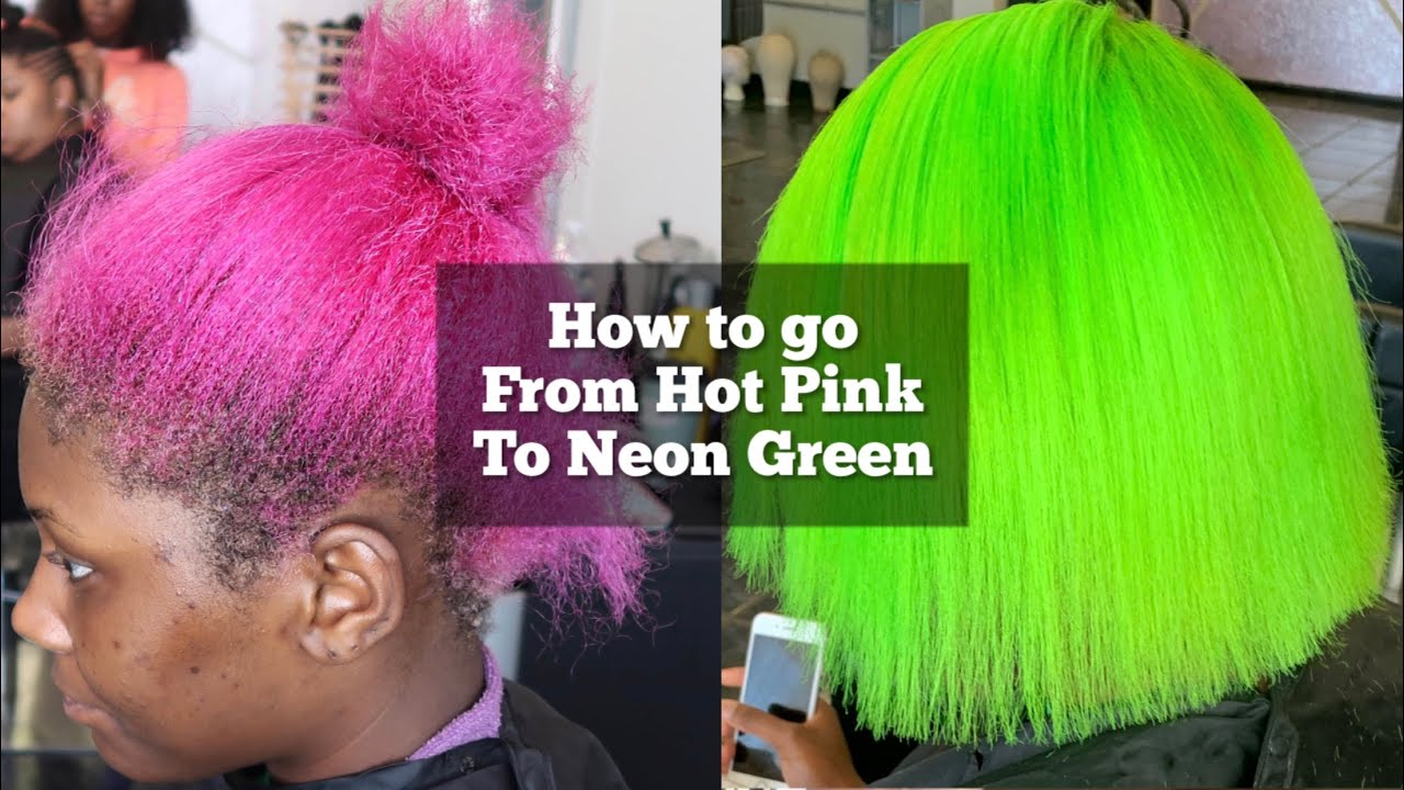 How to go from Hot Pink to Neon Green   How to remove pink hair dye  Lime green hair tutorial