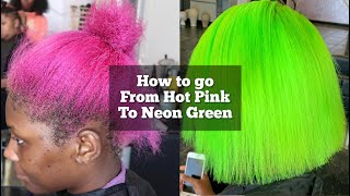Baixar How to go from Hot Pink to Neon Green | How to remove pink hair dye| Lime green hair tutorial