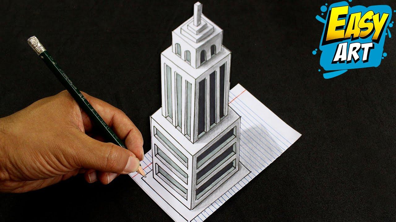 🔴🔵 Drawing 3D Skyscraper building on Line Paper - Como Dibujar un edificio en 3D - Easy Art