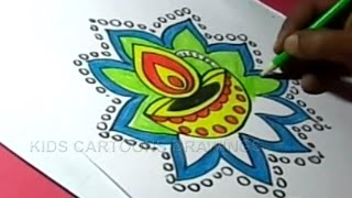 How to Draw Diwali Festival Greeting Step by Step for Kids