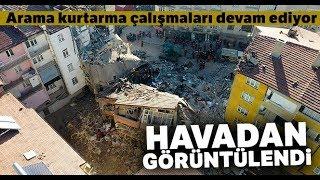 Mustafa Paşa Mahallesi'nde Arama Kurtarma Çalışmaları Havadan Görüntülendi