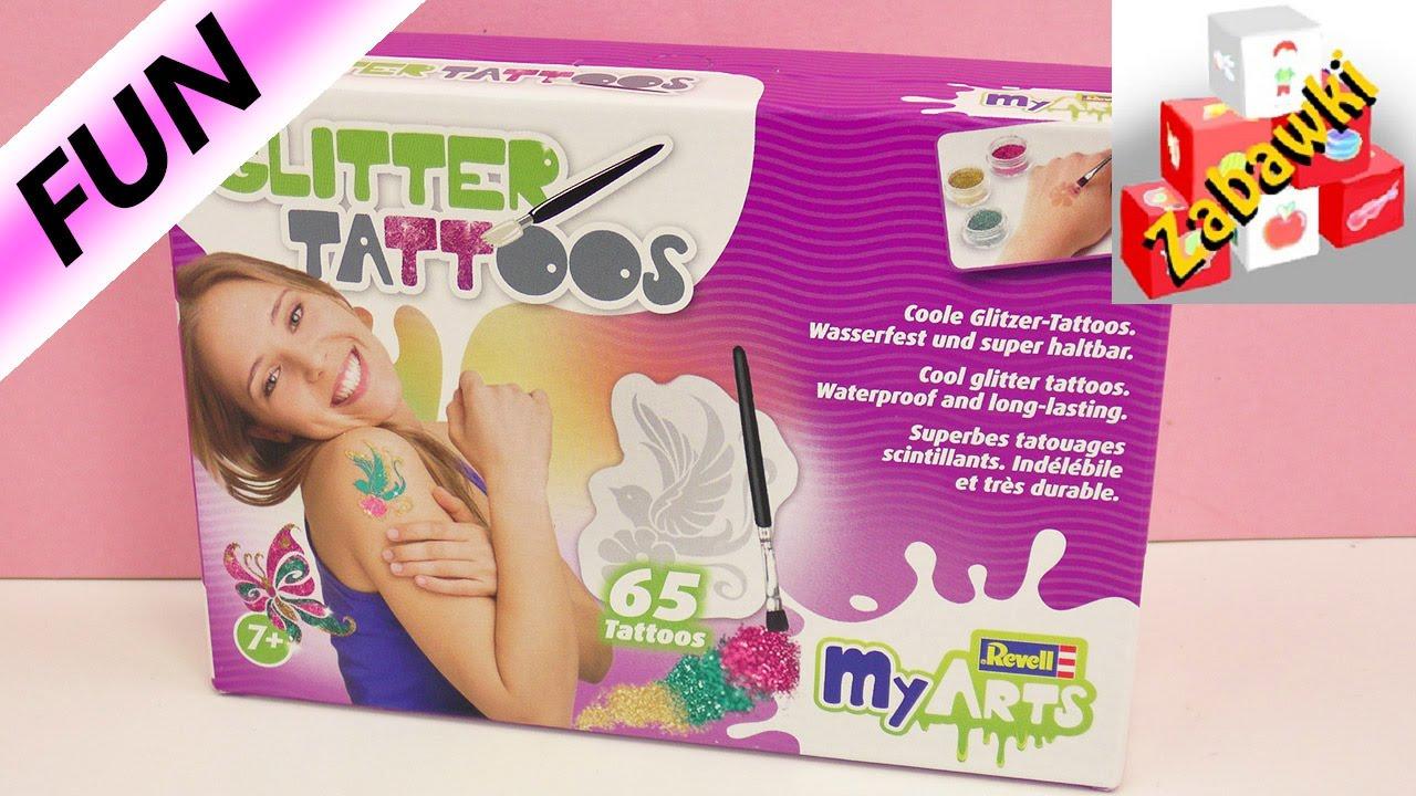 Zestaw Do Robienia 65 Brokatowych Tatuaży W 3 Kolorach Unboxing