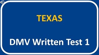 Texas DMV Written Test 1