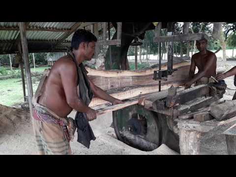Best Wood Cutting Technique in Bangladeshi Saw Mill in Rural Village/BD Village Wood Cutting