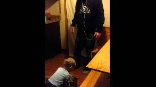 Baby argues with dad over who's cleaning mess