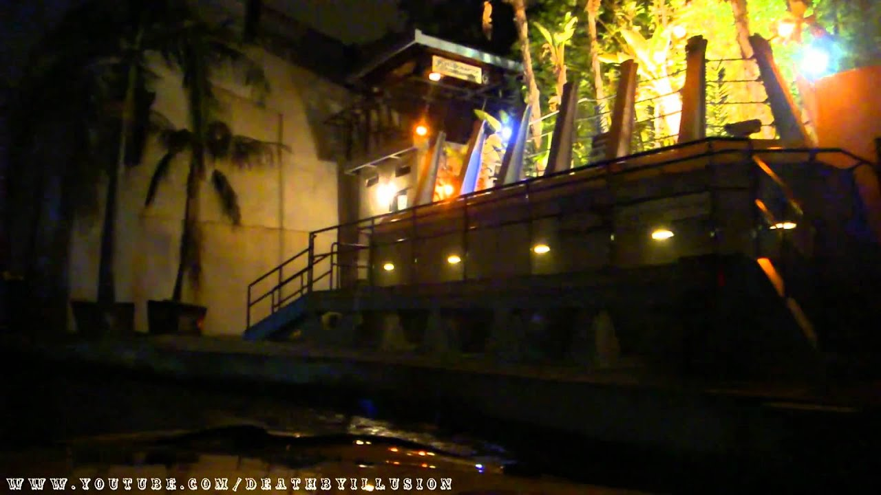 jurassic park in the dark halloween horror nights on-ride front (hd