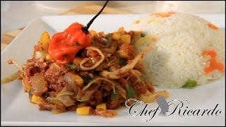 Jamaican Cabbage And Corn Beef With White Rice, | Recipes By Chef Ricardo