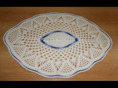 Tapete de barbante em croche oval azul e natural parte 3 for Tapetes de ganchillo