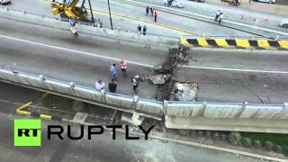 Ecuador: Drone captures collapsed bridge in Guayaquil after 7.8M earthquake