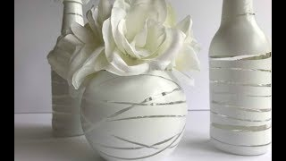 ALL WHITE BOTTLE UPCYCLE   DIY DOLLAR TREE WEDDING OR PARTY IDEA