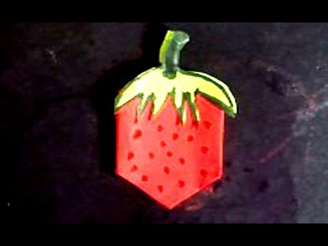 Easy origami fruit-How to make a paper strawberry-paper craft tutorial by TrendyCraft