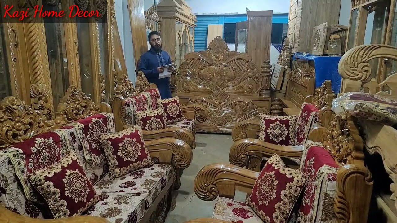 চিটাগাং সেগুন কাঠের রাজকীয় পিলার খাট ও হাতির পায়া সোফা wooden pilar khat & Sofa set with foam cover