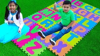 ABC Song  Wendy And Liam Pretend Play Learning Alphabet With Nursery Rhyme Songs