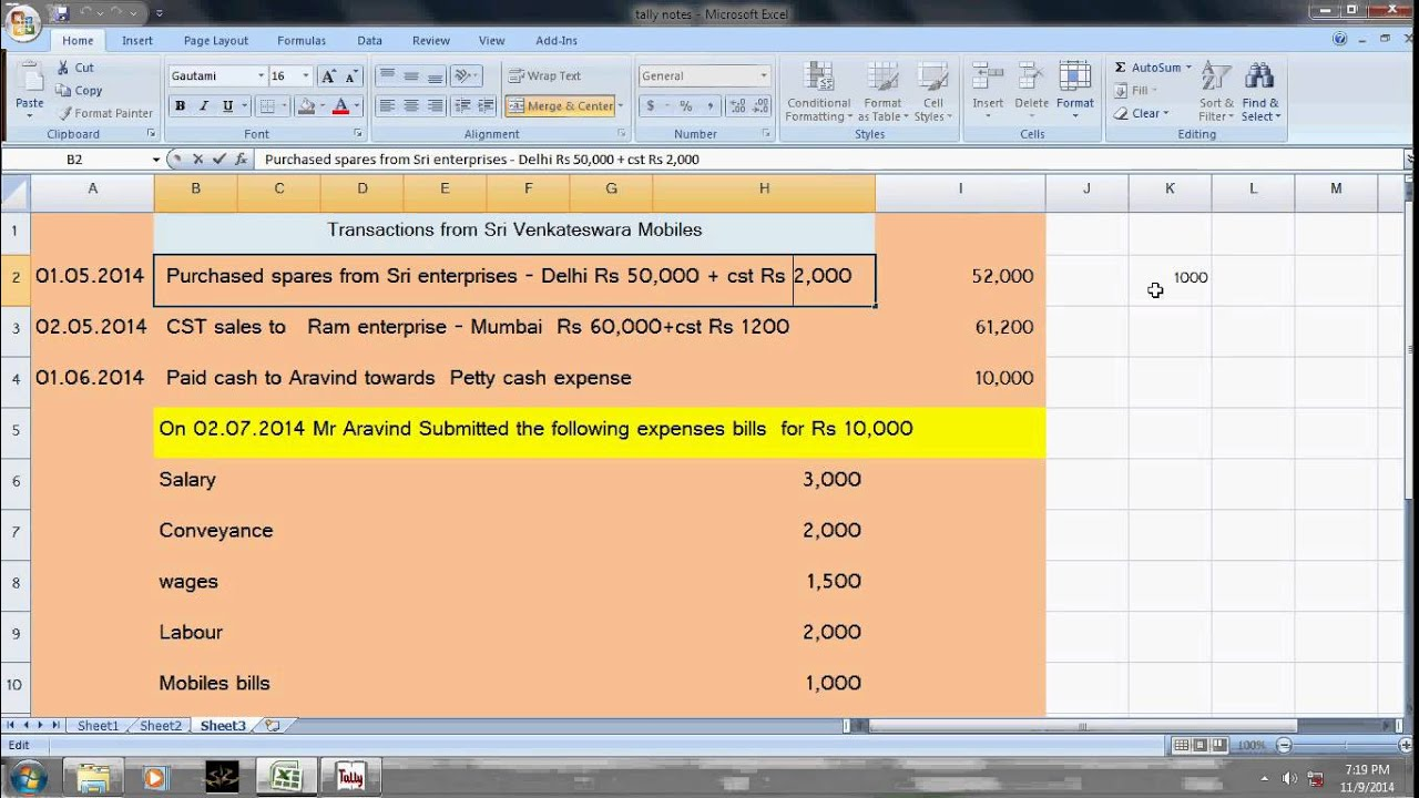 how to make petty cash book in tally