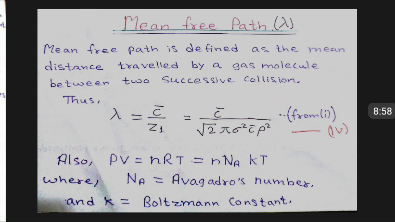 define mean free path in chemistry