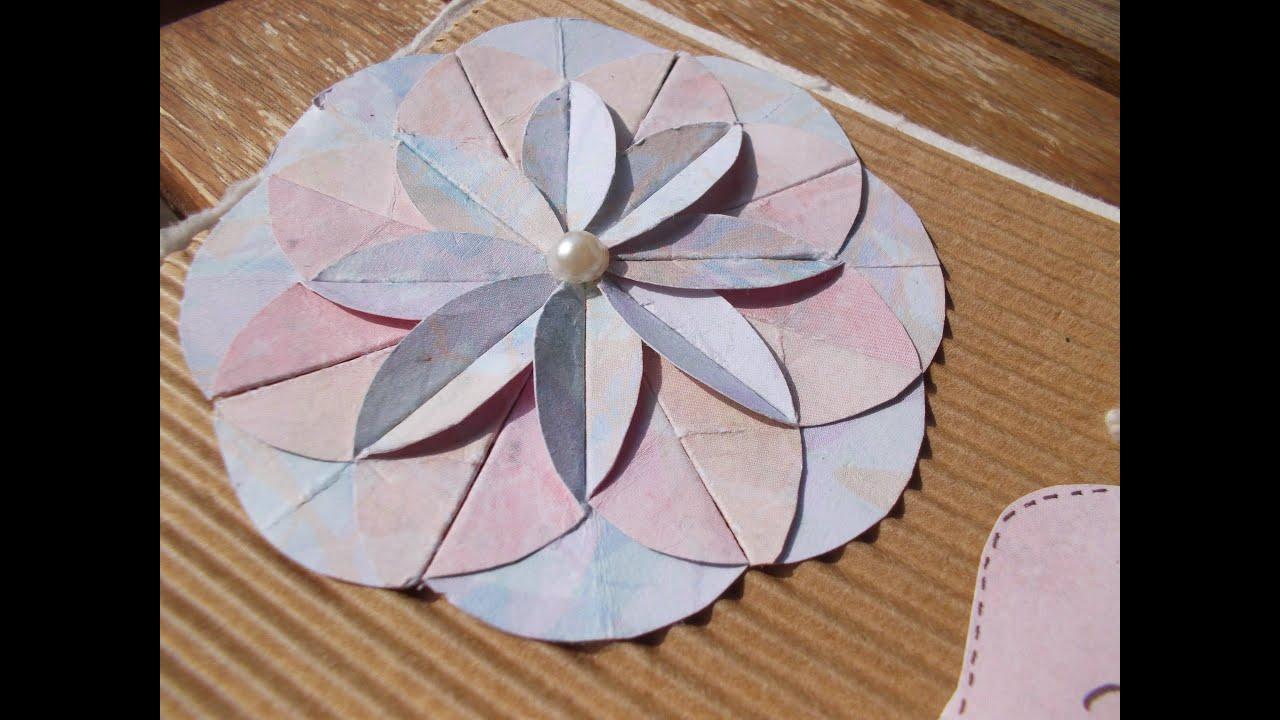 Tuto faire une fleur en papier carte de naissance tutorial make a paper flower a birth card - Faire fleur en papier ...
