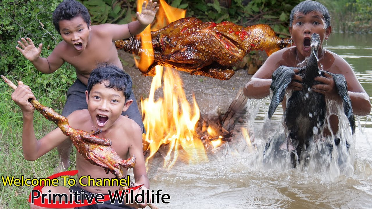 Primitive Wildlife - Cacth Duck & Cooking in wild - Eating delicious ( Ep00118 )