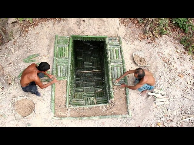 Dig To Build Bamboo House Underground & Two Swimming Pool (Full Video)