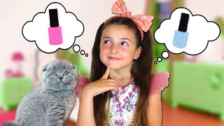 Masha and her Fun day with a Kitten