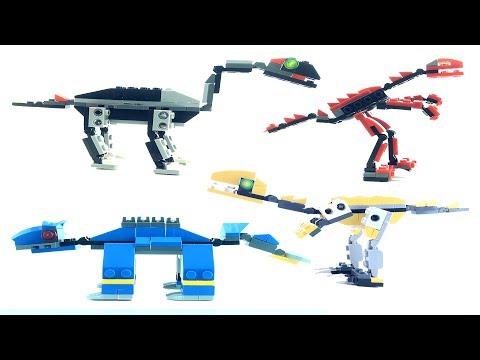 4 Dinosaur Surprise Eggs -  Lego Compatible Dinosaur Bricks - Ankylosaurus Tanystropheus Speed Build