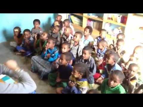 School Children Singing at Jewish School in Gondar