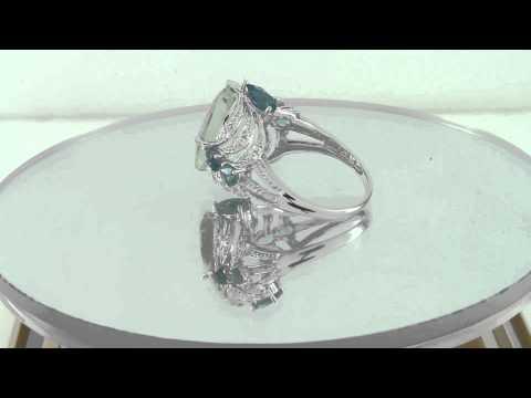 Estate 6.00ct Diamond w/ Green Amethyst & London Blue Topaz 14K Gold Ring