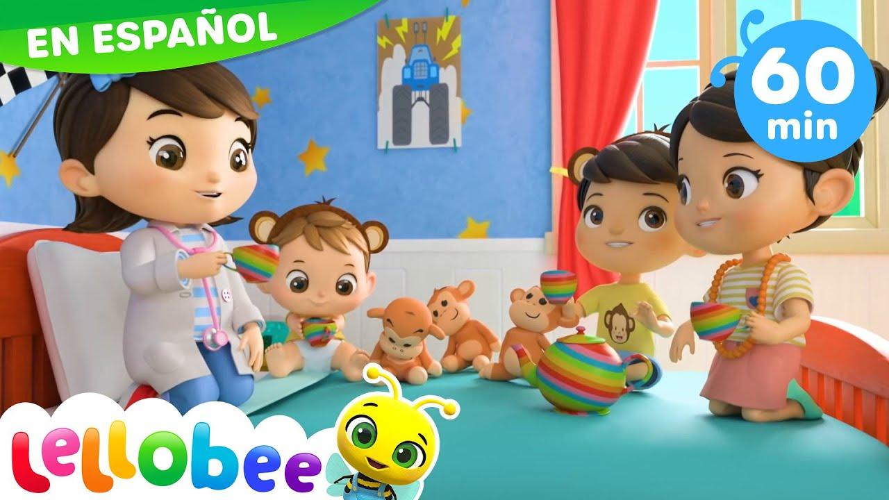 MIA y el Bebé MAX saltando en la Cama - 5 Monitos | Canciones Infantiles | Little Baby Bum Latino