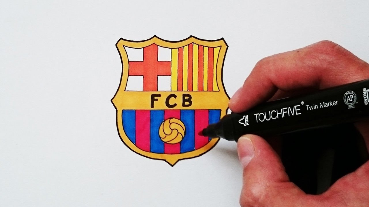 Cómo dibujar el escudo del Barcelona explicado paso a paso - YouTube