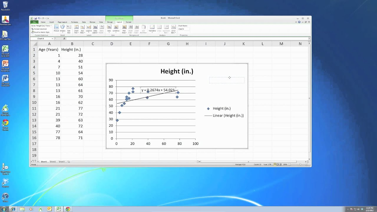 Scatter plot with line of best fit in excel youtube ccuart Images