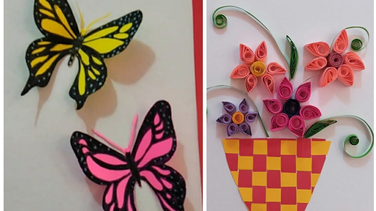 DIY HOME DECOR/WALL DECOR/USING COLORED PAPER/BUTTERFLY ...