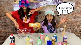 DEEMA CHEATED!! Blindfolded Slime Prank Challenge