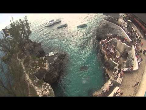 Ricks Cafe Cliff Dive Aerial View GOPRO, Negril, Jamaica - Big Ship Tours