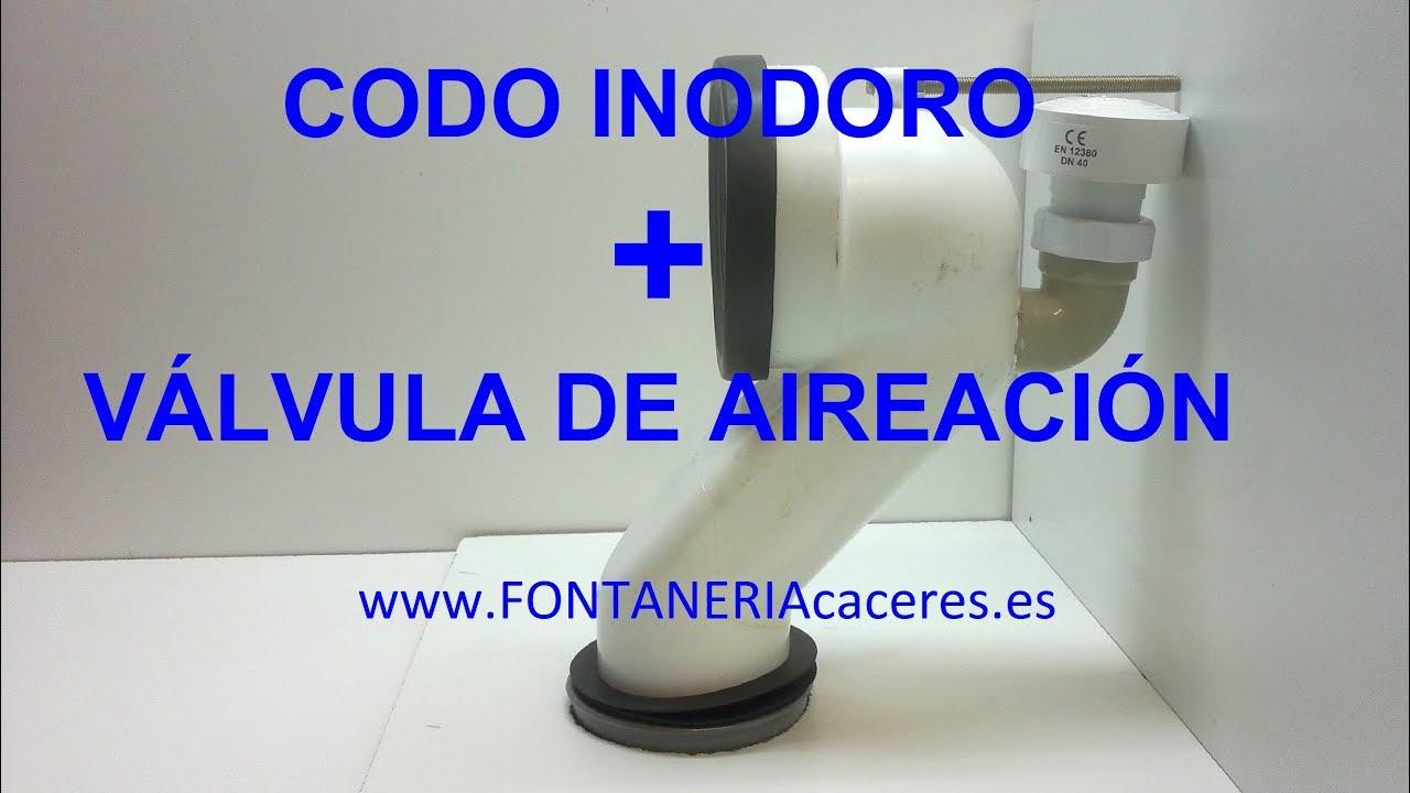 Codo evacuacion inodoro con v lvula aireaci n youtube for Inodoro sin desague