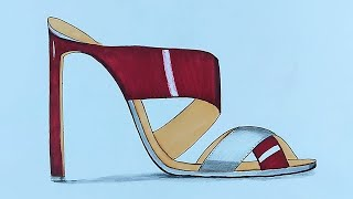 Drawing Red high heels shoes