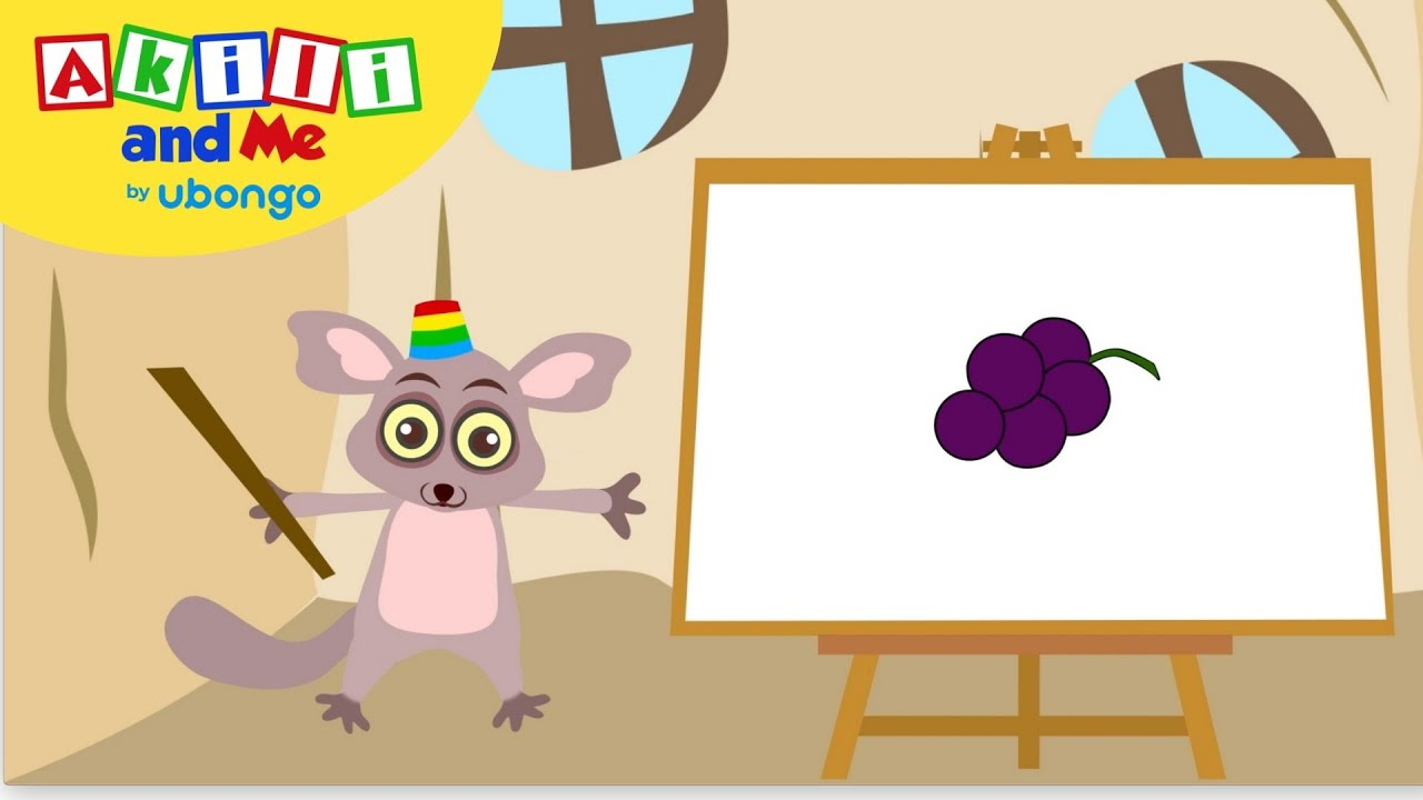 Learn to Draw Grapes! | Draw with Akili and Me | Educational Cartoons for Preschoolers