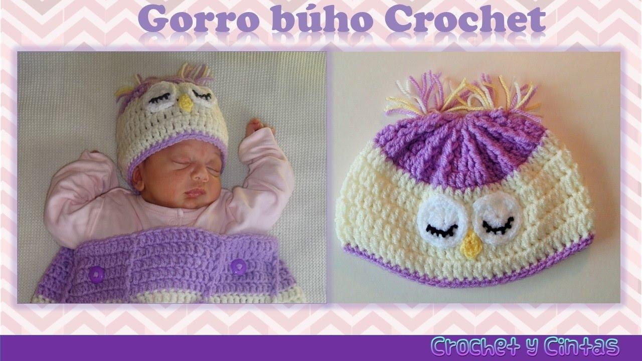 Gorro búho dormido tejido a crochet (ganchillo) - YouTube