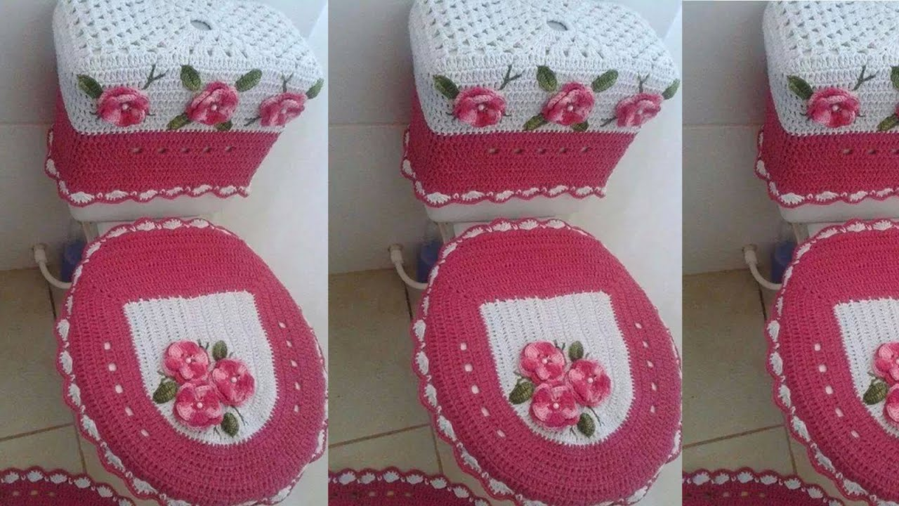 Set De Juego De Baño:Juego De Bano Tejido a Crochet