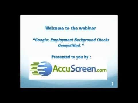 Google: Employment Background Checks Demystified