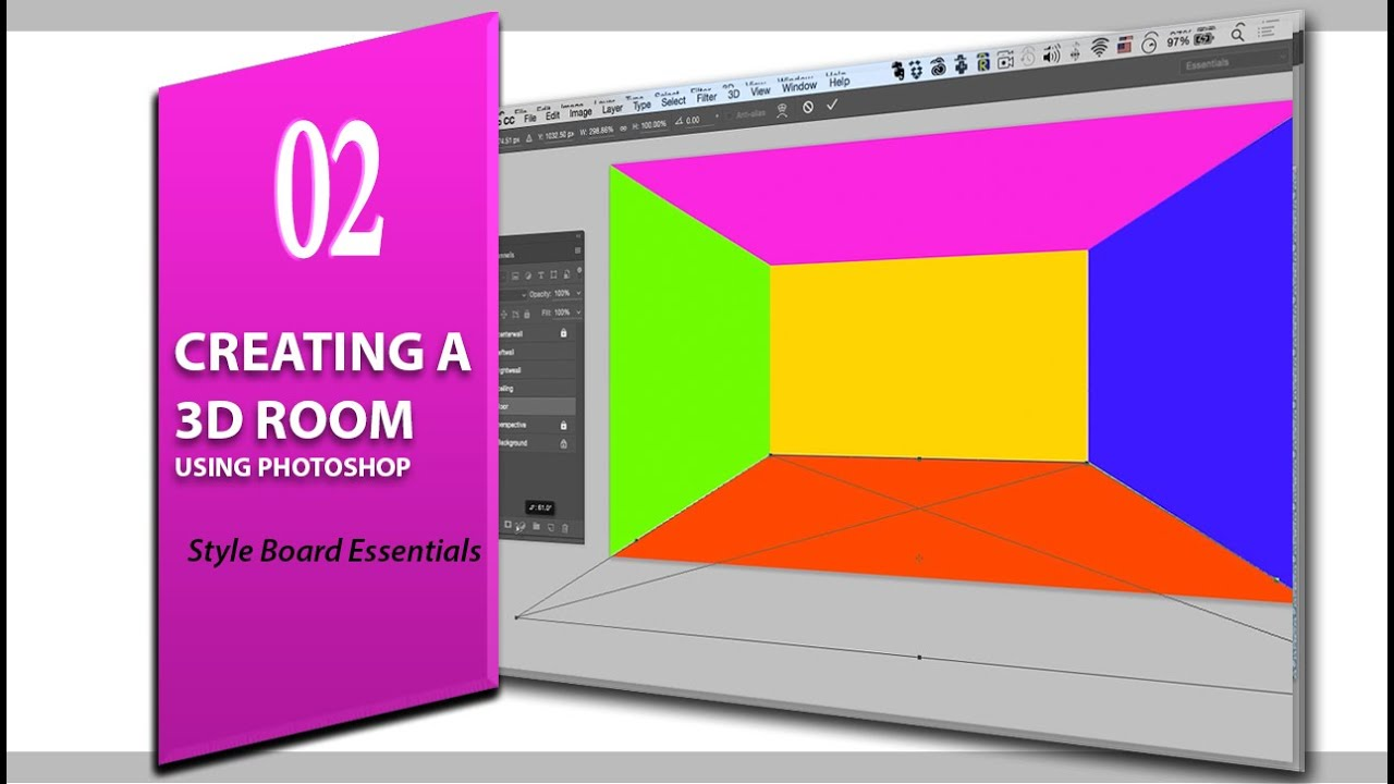 Lesson 2 Creating A 3d Room Using Photoshop Style Board Essentials For Interior Design