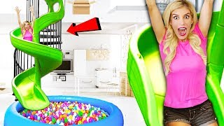 Download Transforming my Stairs into a GiANT SPiRAL SLiDE inside my HOUSE! (Box Fort vs. Ball pit) Mp3 and Videos