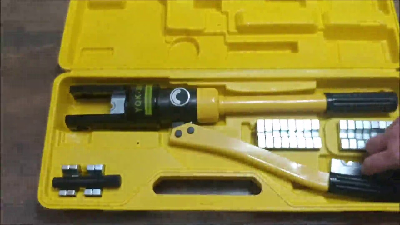 hg 16 ton hydraulic wire terminal crimper battery cable lug crimping tool 11 dies youtube. Black Bedroom Furniture Sets. Home Design Ideas
