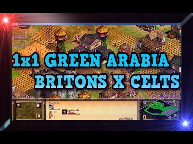 Age of Empires 2 HD 1x1 Green Arabia Britons X Celts AoE2HD Gameplay PT BR