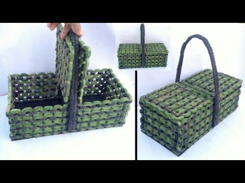 Newspaper basket | multi storage basket | newspaper tokri | newspaper craft | basket making | HMA209