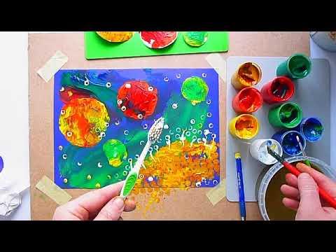 3 клас. Мистецтво. Малюємо фантастичний космічний пейзаж в техніці монотипія та відтиск