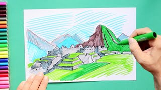 How to draw and color Machu Picchu, Peru