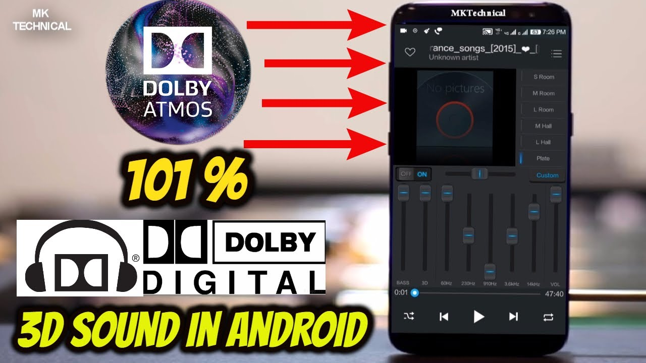 101% DOLBY DIGITAL 3D MUSIC PLAYER FOR ANDROID| EQUALIZER MUSIC PLAYER  BOOSTER HINDI | MKTechnical