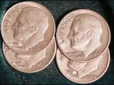 1961, 1962, 1963 & 1964 Silver Roosevelt Dimes
