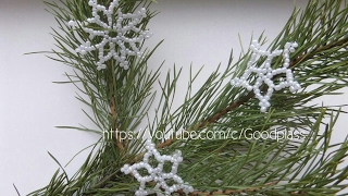 Снежинка из бисера на елку. Плетение бисером на Новый год. Бисероплетение.